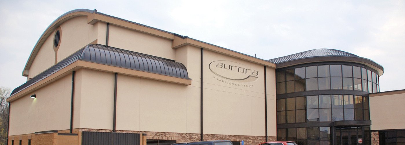 Front of the Aurora Pharmaceutical building