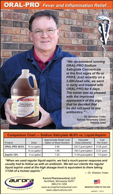 ORAL-PRO Sodium Salicylate Ad, National Hog Farmer, Dr. Sheldon Yoder